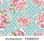 pink vintage rose pattern on... | Shutterstock .eps vector #93088354