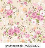 wallpaper vintage rose pattern | Shutterstock .eps vector #93088372