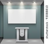 room with tribune and white... | Shutterstock .eps vector #93088810