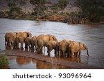 herd of elephants drinking at... | Shutterstock . vector #93096964