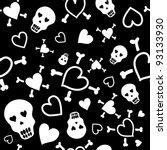 love skull pattern | Shutterstock .eps vector #93133930