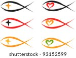 set of christian fish symbols