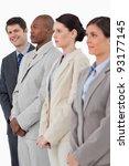 smiling salesman standing next... | Shutterstock . vector #93177145