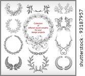 vector set of laurel wreaths... | Shutterstock .eps vector #93187957