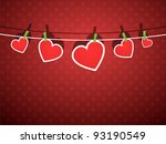 paper hearts hanging from a... | Shutterstock .eps vector #93190549