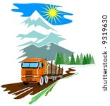 logging truck with mountains in ... | Shutterstock . vector #9319630