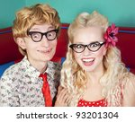 happy nerdy couple | Shutterstock . vector #93201304