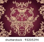 Seamless vintage background deep red  baroque pattern - stock vector