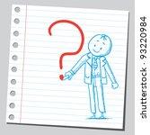businessman drawing question... | Shutterstock .eps vector #93220984