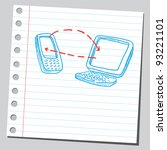 phone and computer connection | Shutterstock .eps vector #93221101