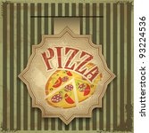 Vintage card menu - pizza label - stock vector