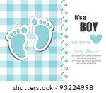 Baby Boy Arrival Card. Vector...