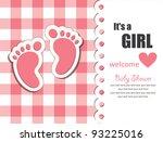 Baby Girl Arrival Card. Vector...