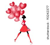 isolated girl with a valentines ... | Shutterstock .eps vector #93242377