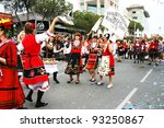 LIMASSOL,CYPRUS-MARCH 6, 2011: Unidentified Bulgarian people in national costumes  during the carnival parade, established in 16th century, influenced by Venetians. - stock photo