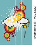 colorful design with clouds and ... | Shutterstock .eps vector #9325222