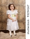 little cute girl in white dress ... | Shutterstock . vector #93254167