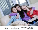 young mother read book to their ... | Shutterstock . vector #93256147