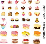 mixed cakes and dessert... | Shutterstock .eps vector #93270832