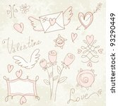 freehand elements with love  ... | Shutterstock .eps vector #93290449