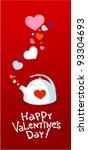 valentine kettle with love...   Shutterstock .eps vector #93304693