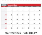 december 2012 planning calendar | Shutterstock .eps vector #93310819