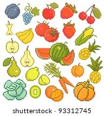 vector set  8 bit fruits and... | Shutterstock .eps vector #93312745