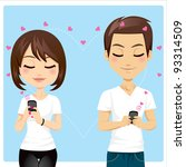 portrait of young couple... | Shutterstock .eps vector #93314509