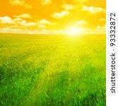 green field and beautiful sunset | Shutterstock . vector #93332872