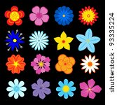 set of flower blossoms and... | Shutterstock .eps vector #93335224