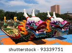 Decorated dragon boats are anchored on the Love River in Kaohsiung in preparation for the Dragon Boat Festival - stock photo