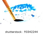 brush with blue paint stroke... | Shutterstock . vector #93342244