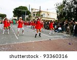 LIMASSOL, CYPRUS - MARCH 6, 2011: Unidentified participants in nurse costumes during the carnival parade, established in 16th century, influenced by Venetian traditions. - stock photo