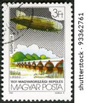 HUNGARY - CIRCA 1981: A stamp printed by Hungary, shows Graf Zeppelin Flights, circa 1981 - stock photo