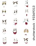 mixed expression illustrations | Shutterstock .eps vector #93369313