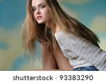 portrait of beautiful girl with ... | Shutterstock . vector #93383290