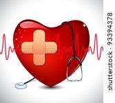 illustration of stethoscope on heart on medical background - stock vector