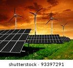 solar  panels and wind turbine... | Shutterstock . vector #93397291