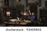 Alchemist working in his study surrounded by books, potions and instruments, 3d digitally rendered illustration - stock photo