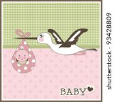 baby girl arrival card  vector | Shutterstock .eps vector #93428809