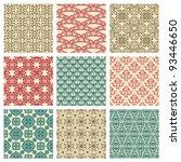 set of nine seamless pattern in ... | Shutterstock .eps vector #93446650
