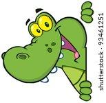 happy crocodile looking around... | Shutterstock . vector #93461251