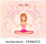 yoga girl in lotus position | Shutterstock .eps vector #93486922