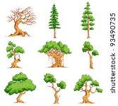 Illustration Of Set Of Tree On...