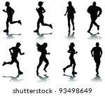running silhouettes with... | Shutterstock .eps vector #93498649