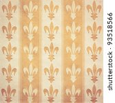 Royal lily (fleur-de-lis) pattern orange and yellow vintage background - stock photo