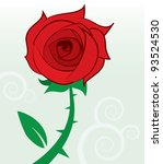 Single Red Rose With Thorns An...