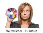 Businesswoman holding CD isolated on white - stock photo