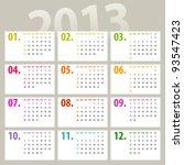 minimalistic 2013 calendar... | Shutterstock . vector #93547423