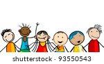 smiling faces kids banner  card ... | Shutterstock .eps vector #93550543